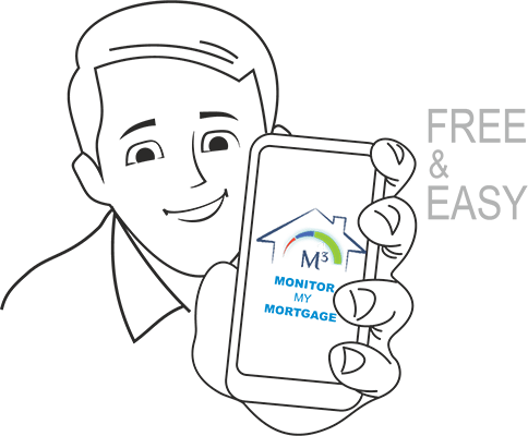 M3 - Caricature of man showing Monitor My Mortgage (M3) mobile app which is free and easy to use