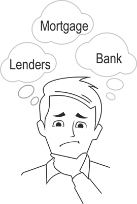 M3TheProblem - Caricature of man thinking about Mortgage, Lender, Bank