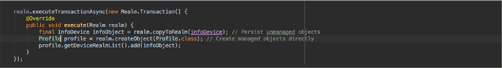 Code editor showing asynchronous transaction