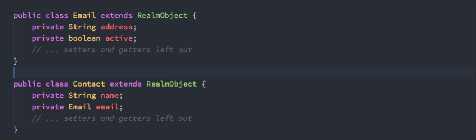 Code editor showing linking between two Realm objects